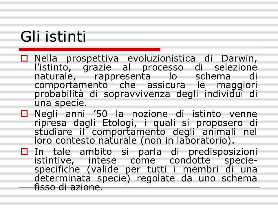 Gli istinti Nella prospettiva evoluzionistica di Darwin, listinto, grazie al processo di selezione naturale, rappresenta lo schema di comportamento ch