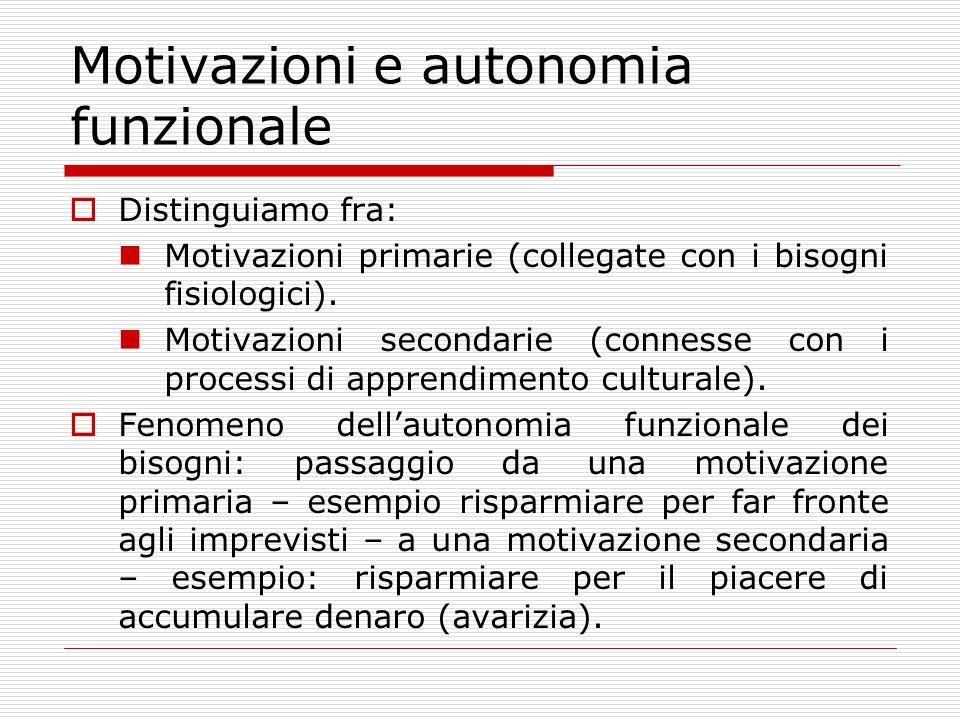 Motivazioni e autonomia funzionale Distinguiamo fra: Motivazioni primarie (collegate con i bisogni fisiologici).