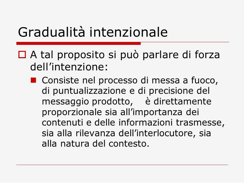 Gerarchia delle intenzioni Ciascun atto comunicativo può essere governato da una pluralità di intenzioni, disposte in modo gerarchico.