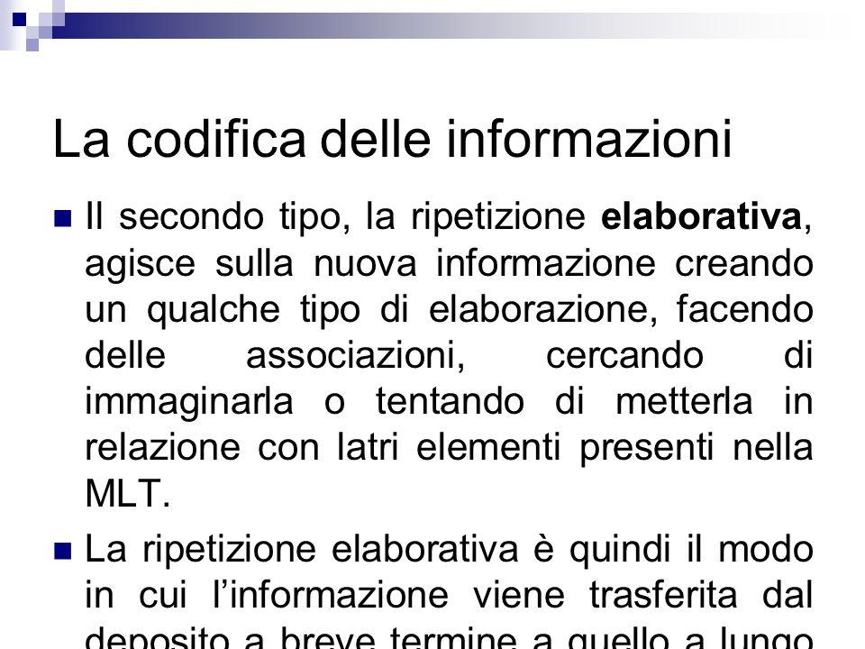 La codifica delle informazioni Il secondo tipo, la ripetizione elaborativa, agisce sulla nuova informazione creando un qualche tipo di elaborazione, f