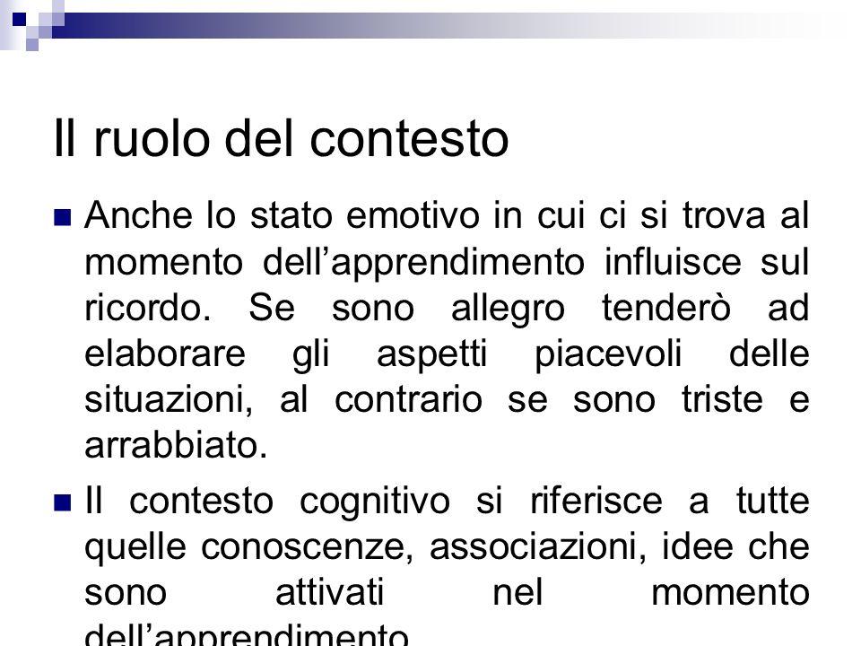 Il ruolo del contesto Anche lo stato emotivo in cui ci si trova al momento dellapprendimento influisce sul ricordo. Se sono allegro tenderò ad elabora
