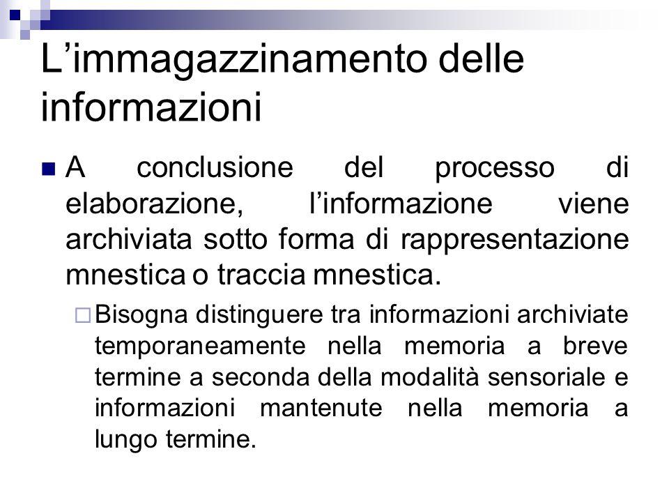 Limmagazzinamento delle informazioni A conclusione del processo di elaborazione, linformazione viene archiviata sotto forma di rappresentazione mnesti