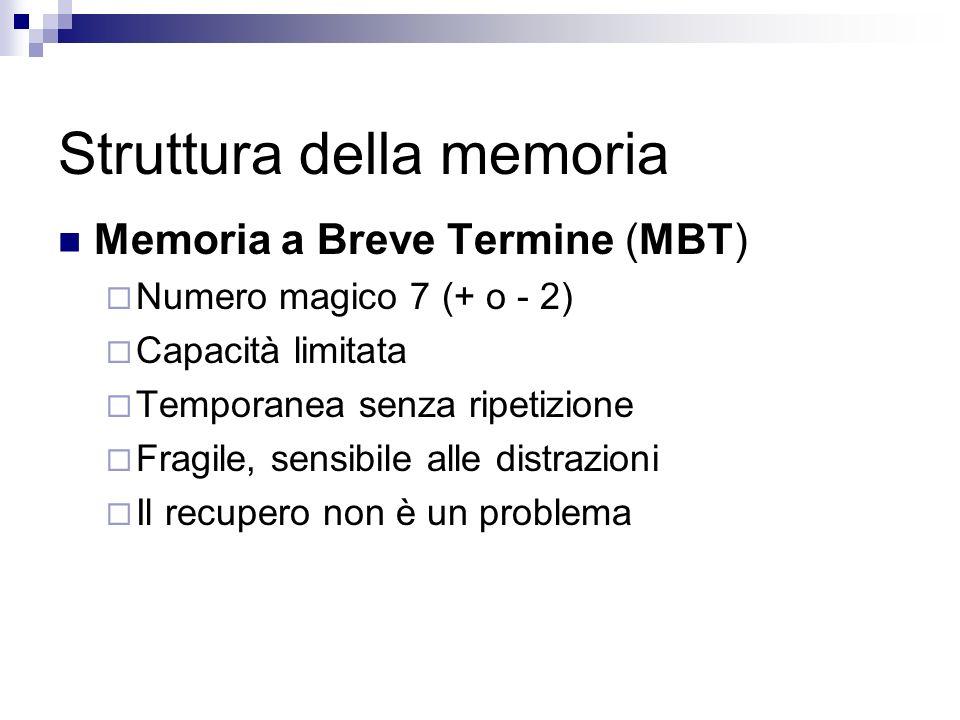 Struttura della memoria Memoria a Breve Termine (MBT) Numero magico 7 (+ o - 2) Capacità limitata Temporanea senza ripetizione Fragile, sensibile alle