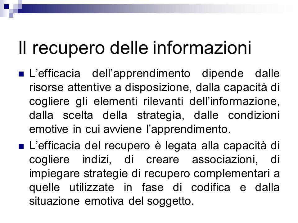 Il recupero delle informazioni Lefficacia dellapprendimento dipende dalle risorse attentive a disposizione, dalla capacità di cogliere gli elementi ri