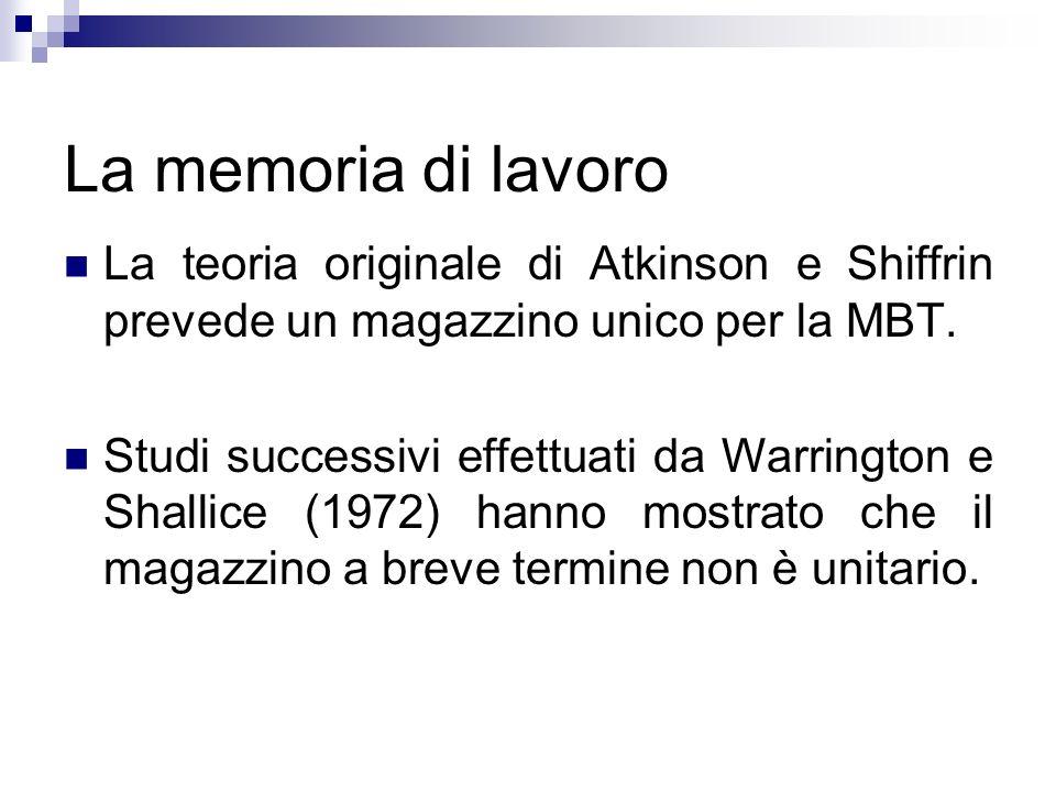 La memoria di lavoro La teoria originale di Atkinson e Shiffrin prevede un magazzino unico per la MBT. Studi successivi effettuati da Warrington e Sha