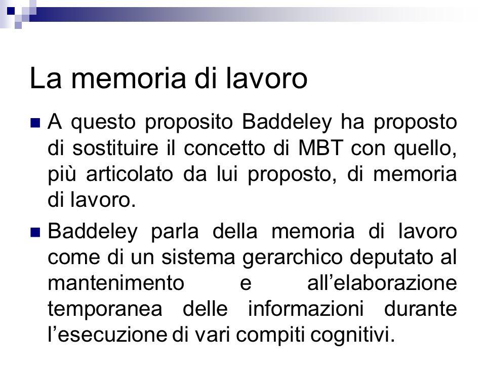 La memoria di lavoro A questo proposito Baddeley ha proposto di sostituire il concetto di MBT con quello, più articolato da lui proposto, di memoria d