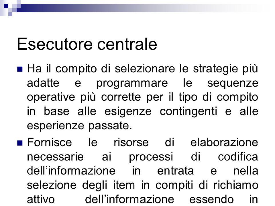 Esecutore centrale Ha il compito di selezionare le strategie più adatte e programmare le sequenze operative più corrette per il tipo di compito in bas