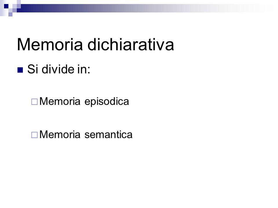 Memoria dichiarativa Si divide in: Memoria episodica Memoria semantica