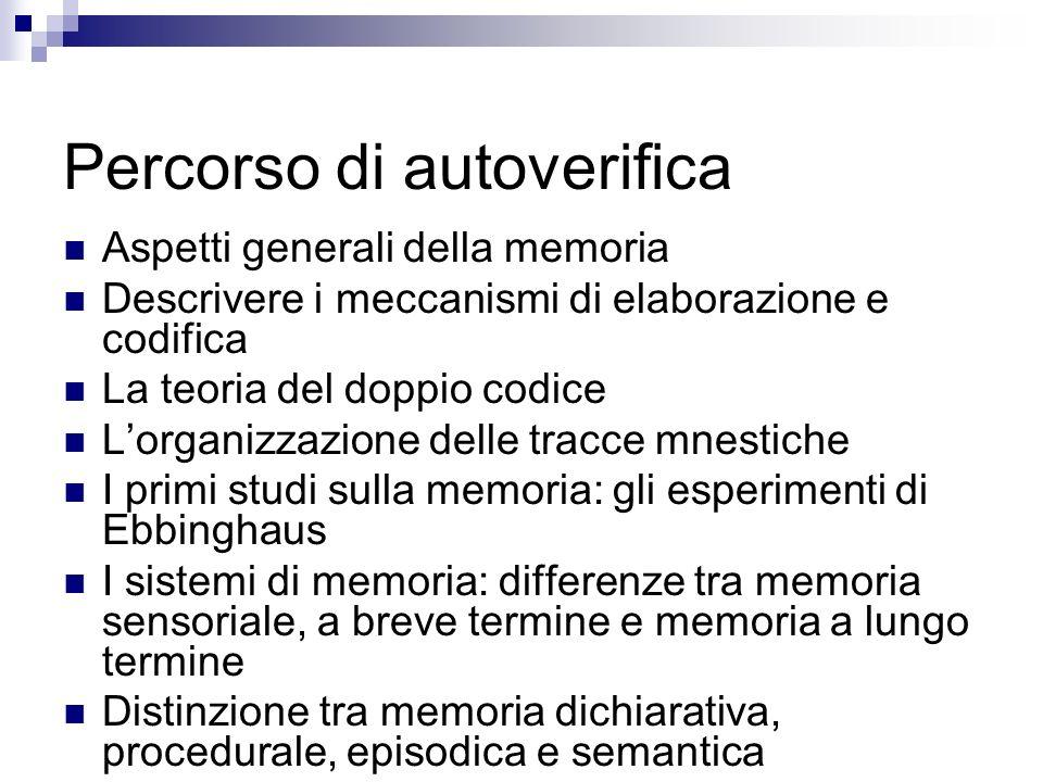 Percorso di autoverifica Aspetti generali della memoria Descrivere i meccanismi di elaborazione e codifica La teoria del doppio codice Lorganizzazione