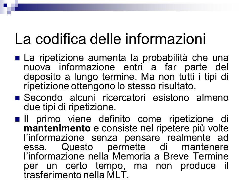 La codifica delle informazioni La ripetizione aumenta la probabilità che una nuova informazione entri a far parte del deposito a lungo termine. Ma non