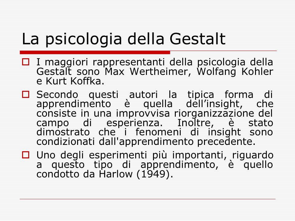 Parallelamente al comportamentismo americano nasce in Europa la psicologia della Gestalt (forma organizzata o configurazione).