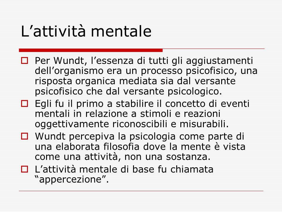 Lattività mentale Per Wundt, lessenza di tutti gli aggiustamenti dellorganismo era un processo psicofisico, una risposta organica mediata sia dal versante psicofisico che dal versante psicologico.