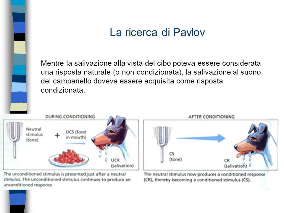 La ricerca di Pavlov Mentre la salivazione alla vista del cibo poteva essere considerata una risposta naturale (o non condizionata), la salivazione al