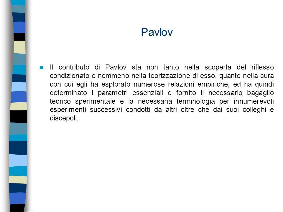 Pavlov Il contributo di Pavlov sta non tanto nella scoperta del riflesso condizionato e nemmeno nella teorizzazione di esso, quanto nella cura con cui