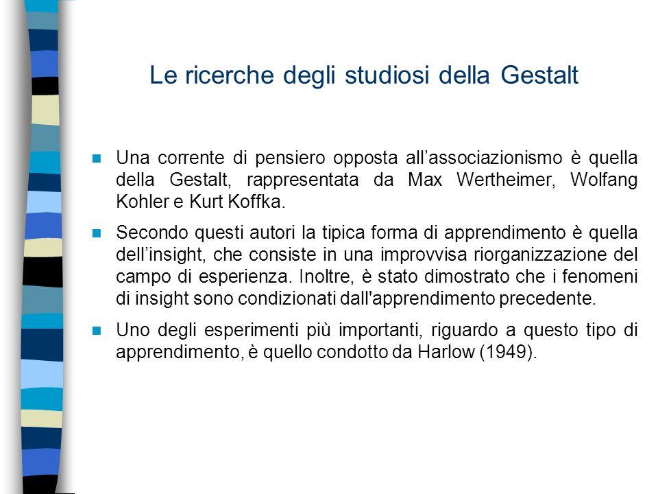 Le ricerche degli studiosi della Gestalt Una corrente di pensiero opposta allassociazionismo è quella della Gestalt, rappresentata da Max Wertheimer,