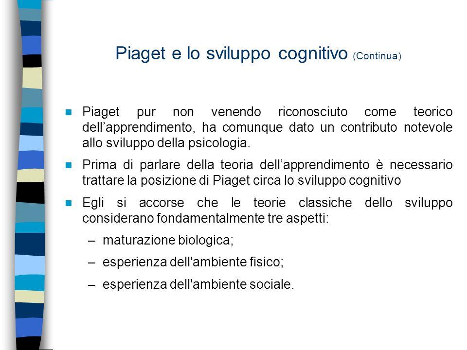 Piaget e lo sviluppo cognitivo (Continua) Piaget pur non venendo riconosciuto come teorico dellapprendimento, ha comunque dato un contributo notevole