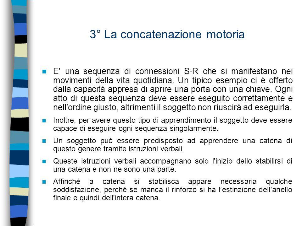 3° La concatenazione motoria E' una sequenza di connessioni S-R che si manifestano nei movimenti della vita quotidiana. Un tipico esempio ci è offerto