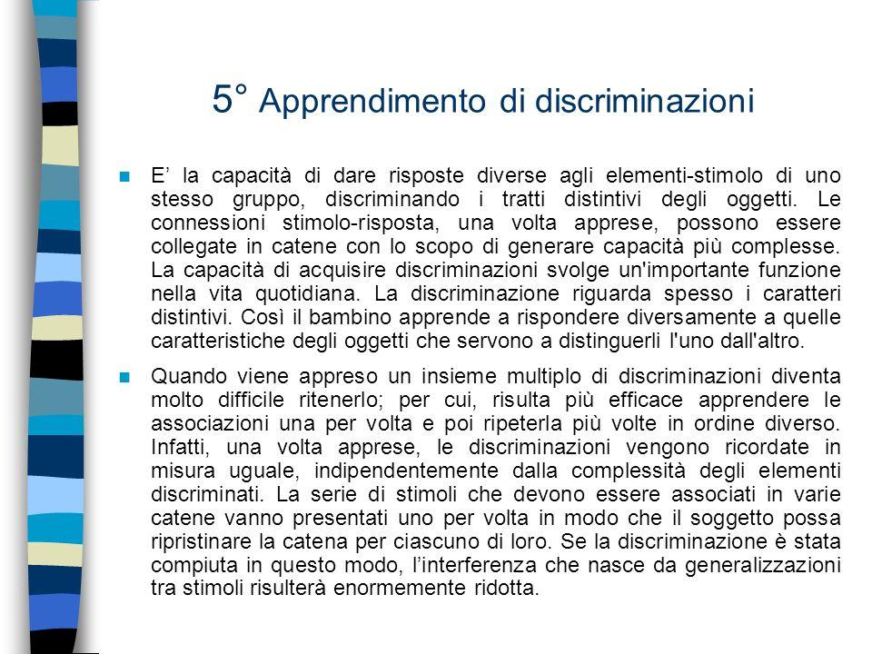 5° Apprendimento di discriminazioni E la capacità di dare risposte diverse agli elementi-stimolo di uno stesso gruppo, discriminando i tratti distinti