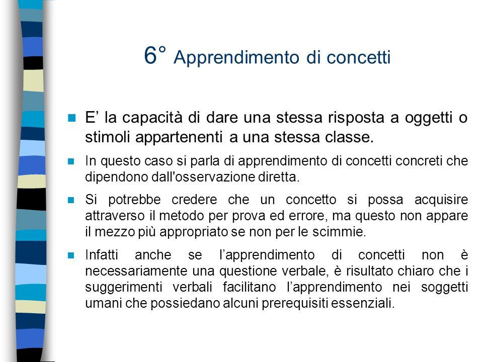6° Apprendimento di concetti E la capacità di dare una stessa risposta a oggetti o stimoli appartenenti a una stessa classe. In questo caso si parla d