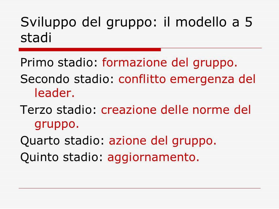 Sviluppo del gruppo: il modello a 5 stadi Primo stadio: formazione del gruppo. Secondo stadio: conflitto emergenza del leader. Terzo stadio: creazione