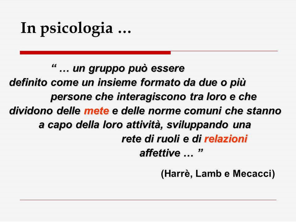 In psicologia … … un gruppo può essere definito come un insieme formato da due o più persone che interagiscono tra loro e che dividono delle mete e de