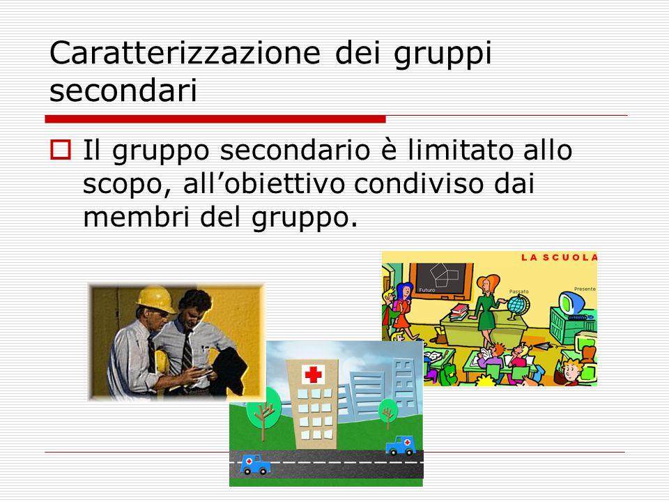 Caratterizzazione dei gruppi secondari Il gruppo secondario è limitato allo scopo, allobiettivo condiviso dai membri del gruppo.