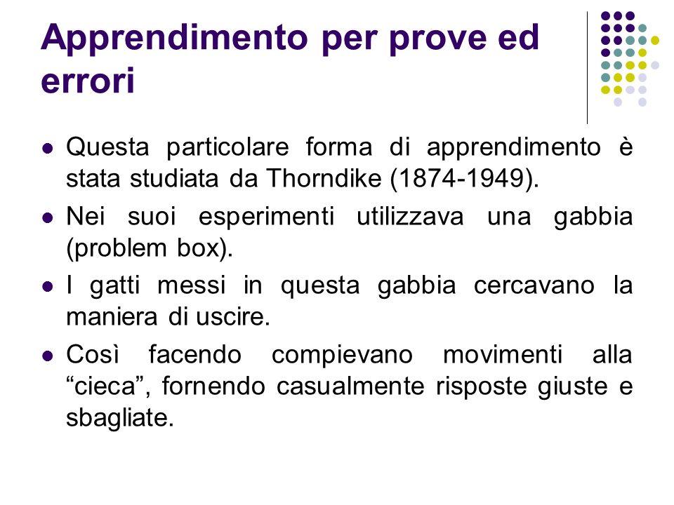 Apprendimento per prove ed errori Questa particolare forma di apprendimento è stata studiata da Thorndike (1874-1949). Nei suoi esperimenti utilizzava
