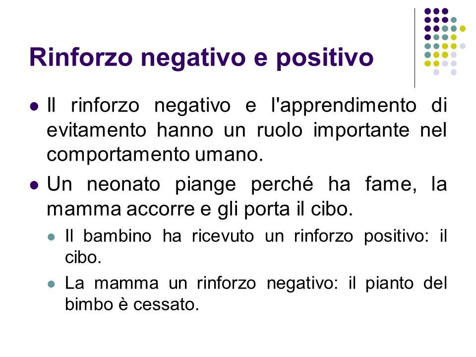 Rinforzo negativo e positivo Il rinforzo negativo e l'apprendimento di evitamento hanno un ruolo importante nel comportamento umano. Un neonato piange