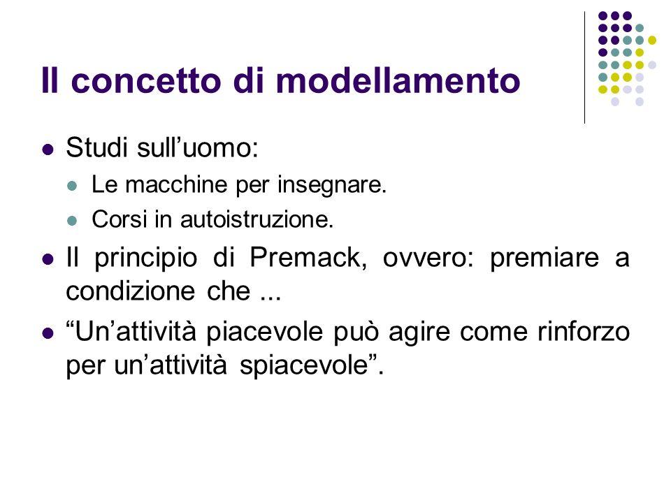 Il concetto di modellamento Studi sulluomo: Le macchine per insegnare. Corsi in autoistruzione. Il principio di Premack, ovvero: premiare a condizione