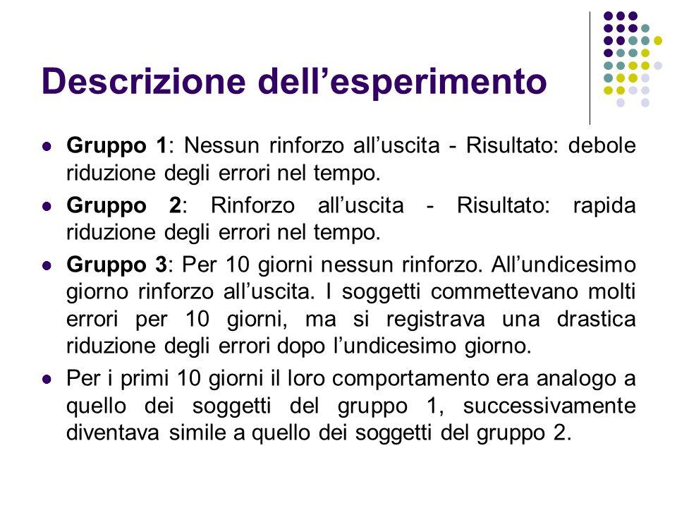 Descrizione dellesperimento Gruppo 1: Nessun rinforzo alluscita - Risultato: debole riduzione degli errori nel tempo. Gruppo 2: Rinforzo alluscita - R