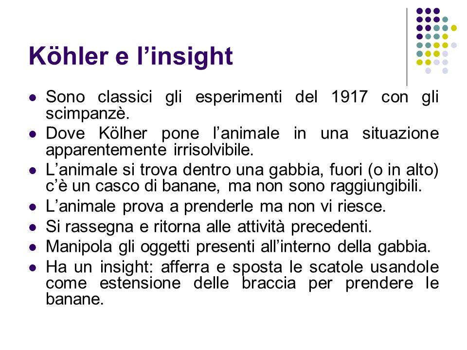 Köhler e linsight Sono classici gli esperimenti del 1917 con gli scimpanzè. Dove Kölher pone lanimale in una situazione apparentemente irrisolvibile.