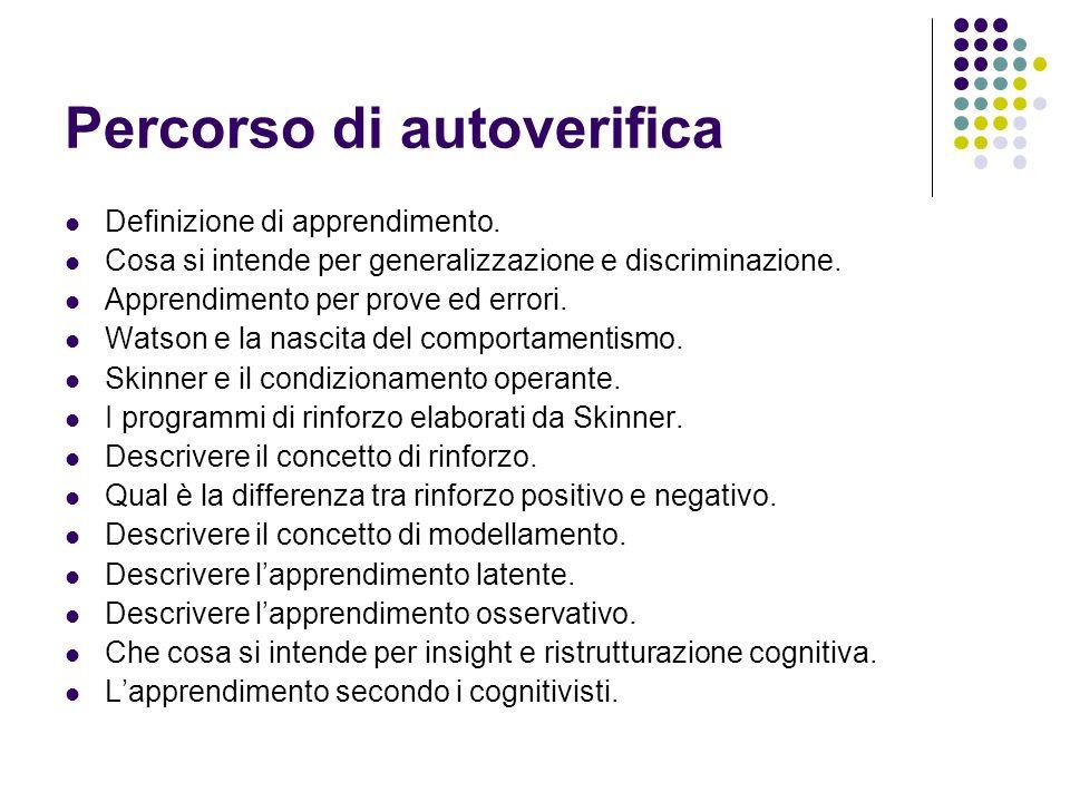 Percorso di autoverifica Definizione di apprendimento. Cosa si intende per generalizzazione e discriminazione. Apprendimento per prove ed errori. Wats