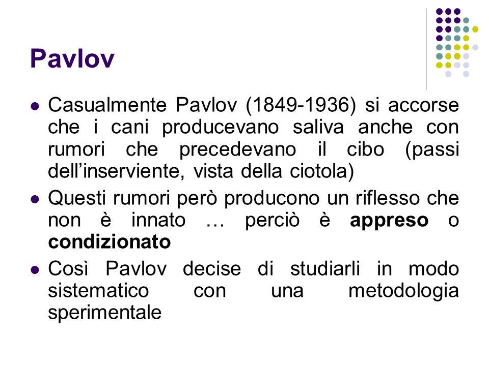 Pavlov Casualmente Pavlov (1849-1936) si accorse che i cani producevano saliva anche con rumori che precedevano il cibo (passi dellinserviente, vista