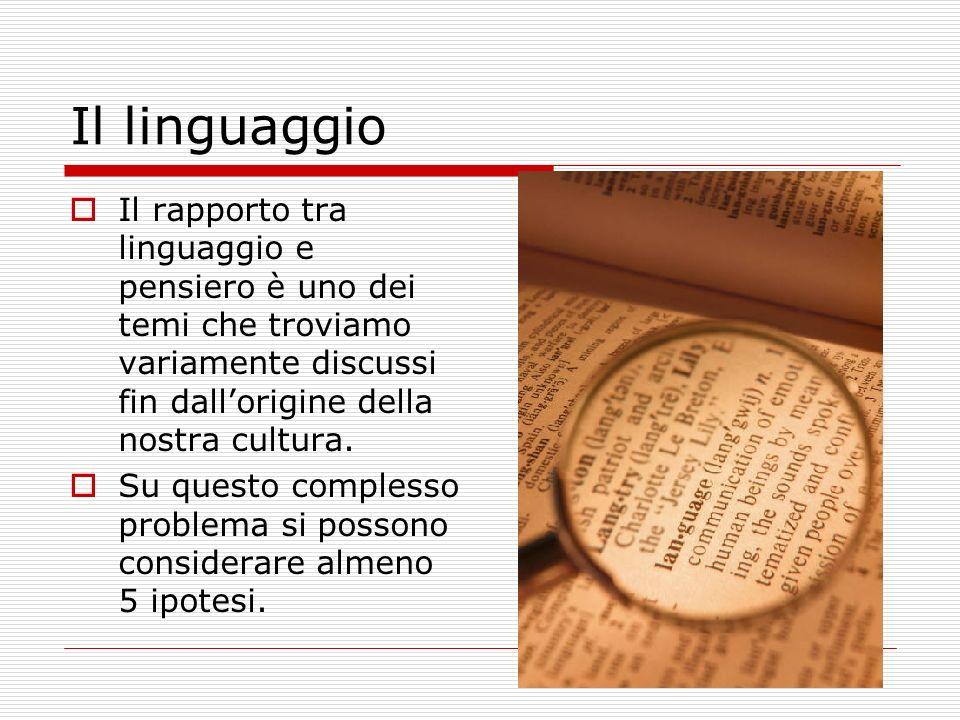Il linguaggio Il rapporto tra linguaggio e pensiero è uno dei temi che troviamo variamente discussi fin dallorigine della nostra cultura.