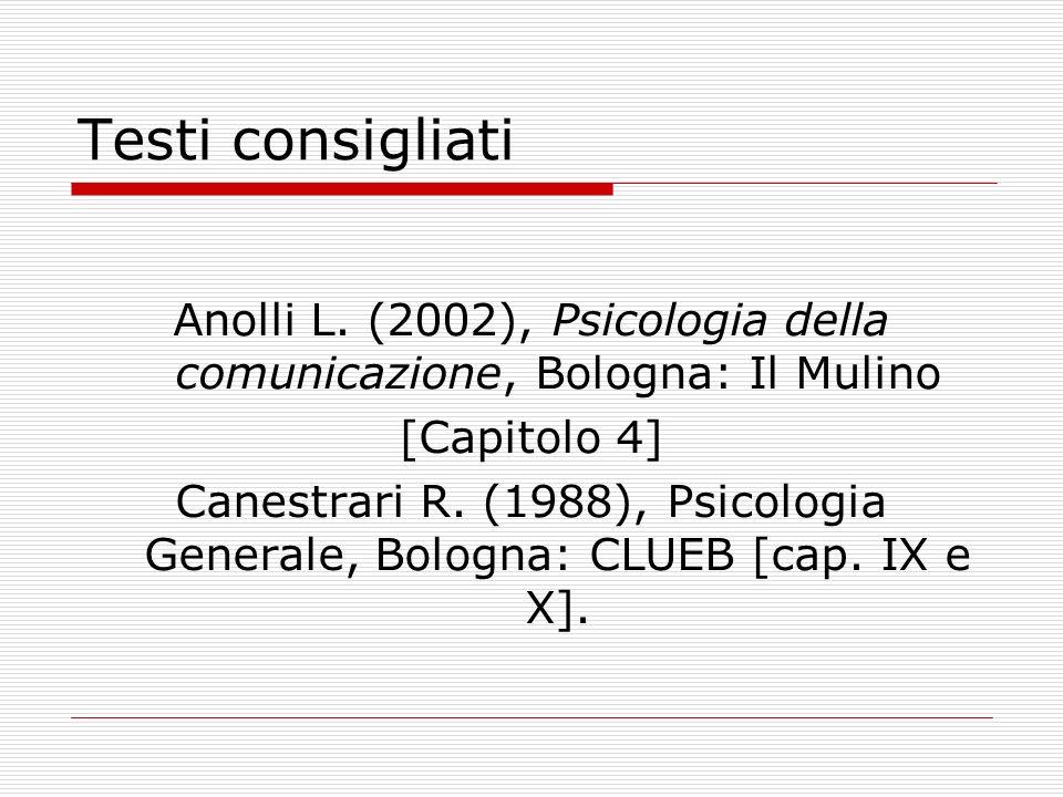 Testi consigliati Anolli L. (2002), Psicologia della comunicazione, Bologna: Il Mulino [Capitolo 4] Canestrari R. (1988), Psicologia Generale, Bologna