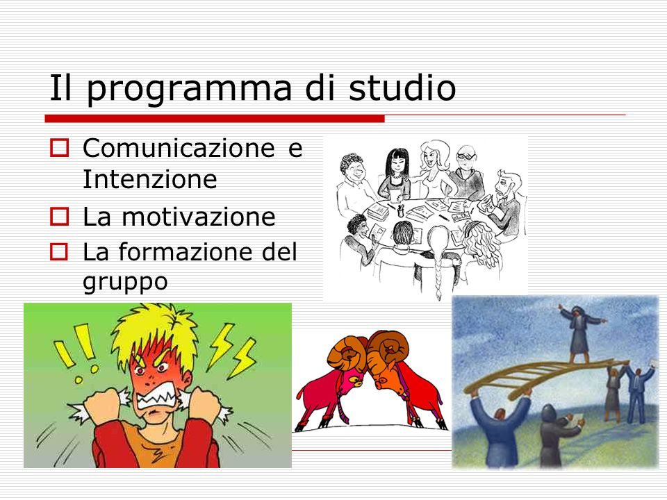 Il programma di studio Comunicazione e Intenzione La motivazione La formazione del gruppo