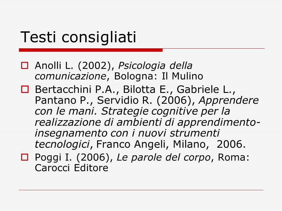 Testi consigliati Anolli L. (2002), Psicologia della comunicazione, Bologna: Il Mulino Bertacchini P.A., Bilotta E., Gabriele L., Pantano P., Servidio