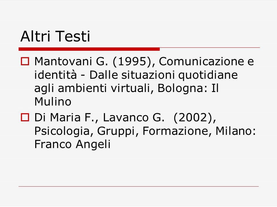 Altri Testi Mantovani G. (1995), Comunicazione e identità - Dalle situazioni quotidiane agli ambienti virtuali, Bologna: Il Mulino Di Maria F., Lavanc
