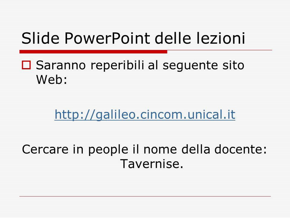 Slide PowerPoint delle lezioni Saranno reperibili al seguente sito Web: http://galileo.cincom.unical.it Cercare in people il nome della docente: Taver