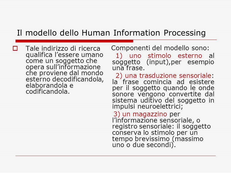 Il modello dello Human Information Processing Tale indirizzo di ricerca qualifica lessere umano come un soggetto che opera sullinformazione che provie