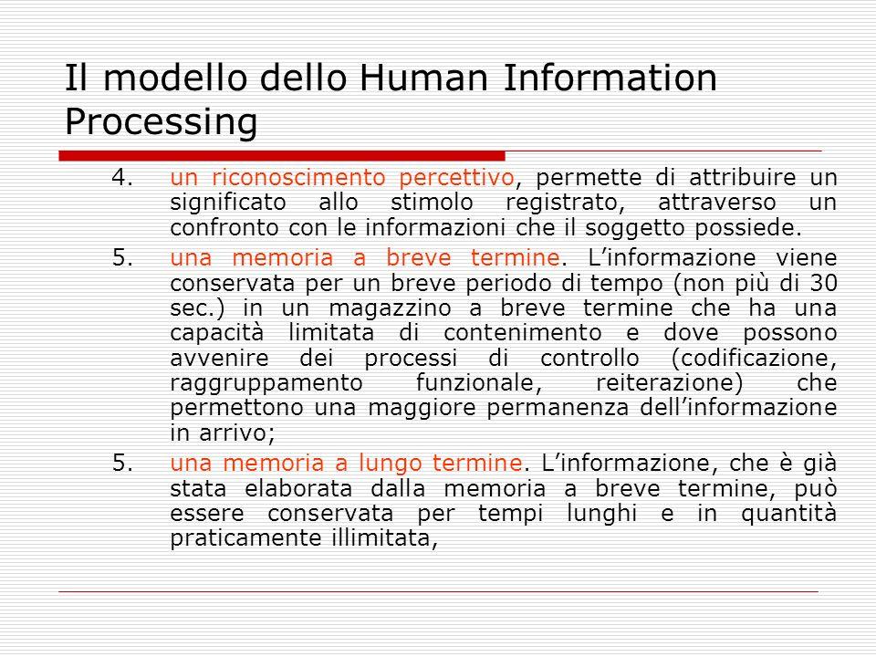Il modello dello Human Information Processing 4.un riconoscimento percettivo, permette di attribuire un significato allo stimolo registrato, attravers