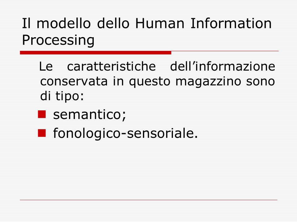 Il modello dello Human Information Processing Le caratteristiche dellinformazione conservata in questo magazzino sono di tipo: semantico; fonologico-s