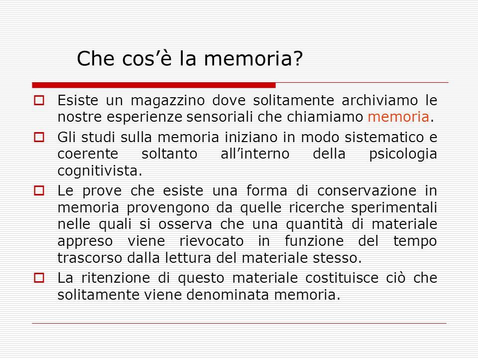 Che cosè la memoria? Esiste un magazzino dove solitamente archiviamo le nostre esperienze sensoriali che chiamiamo memoria. Gli studi sulla memoria in