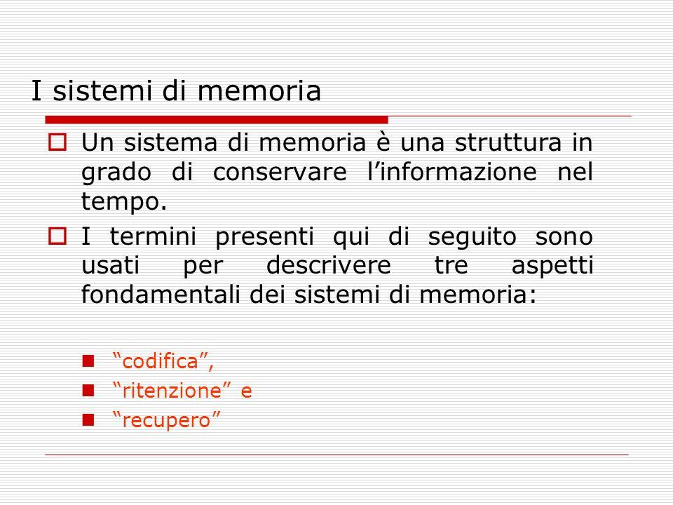 I sistemi di memoria Un sistema di memoria è una struttura in grado di conservare linformazione nel tempo. I termini presenti qui di seguito sono usat