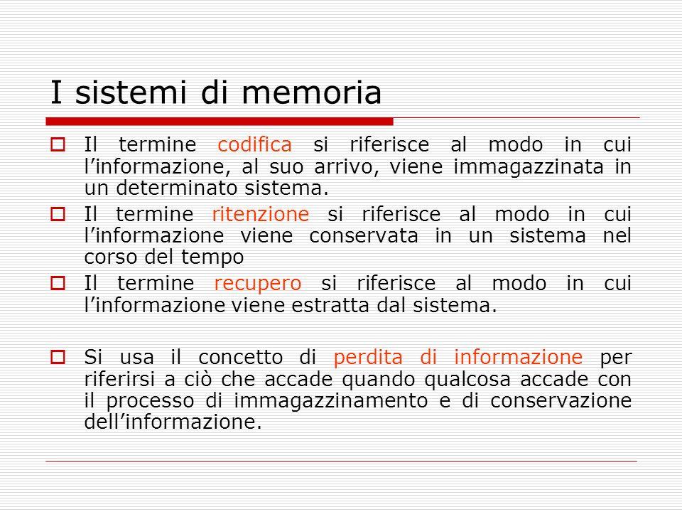 I sistemi di memoria Il termine codifica si riferisce al modo in cui linformazione, al suo arrivo, viene immagazzinata in un determinato sistema. Il t