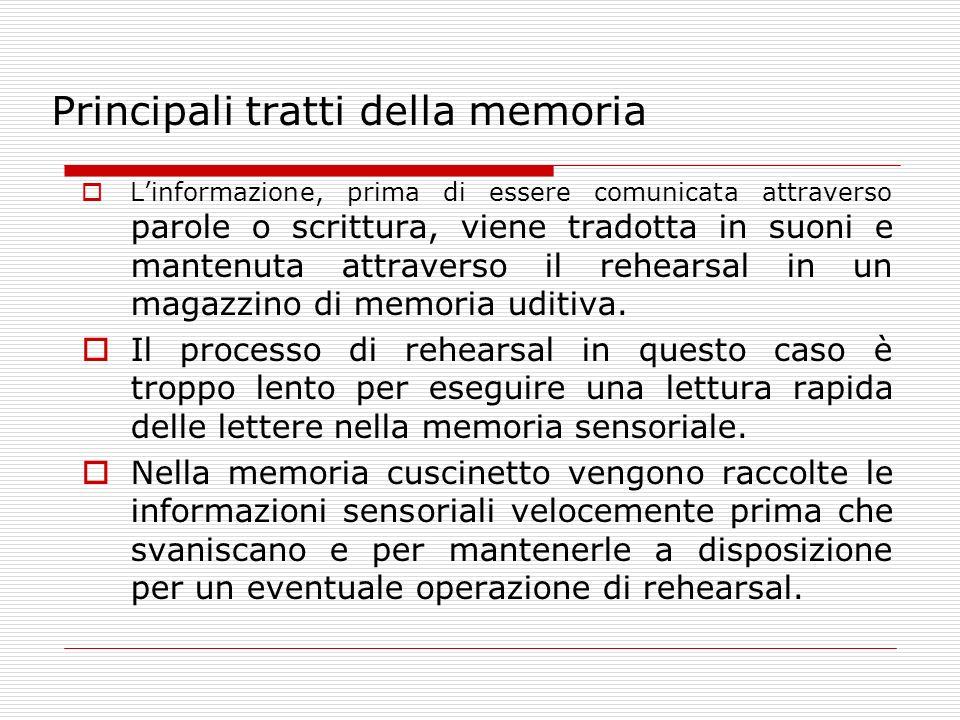 Principali tratti della memoria Linformazione, prima di essere comunicata attraverso parole o scrittura, viene tradotta in suoni e mantenuta attravers