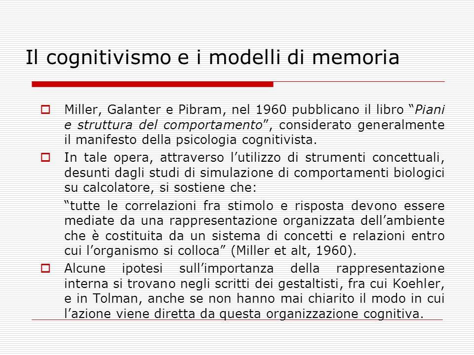 Il cognitivismo e i modelli di memoria Miller, Galanter e Pibram, nel 1960 pubblicano il libro Piani e struttura del comportamento, considerato genera