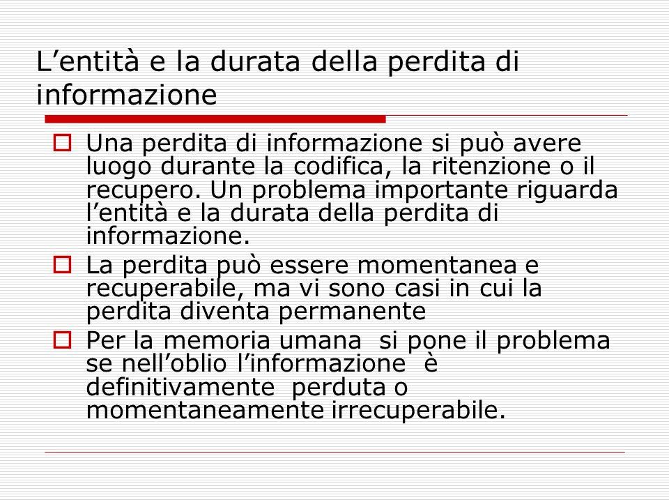 Lentità e la durata della perdita di informazione Una perdita di informazione si può avere luogo durante la codifica, la ritenzione o il recupero. Un