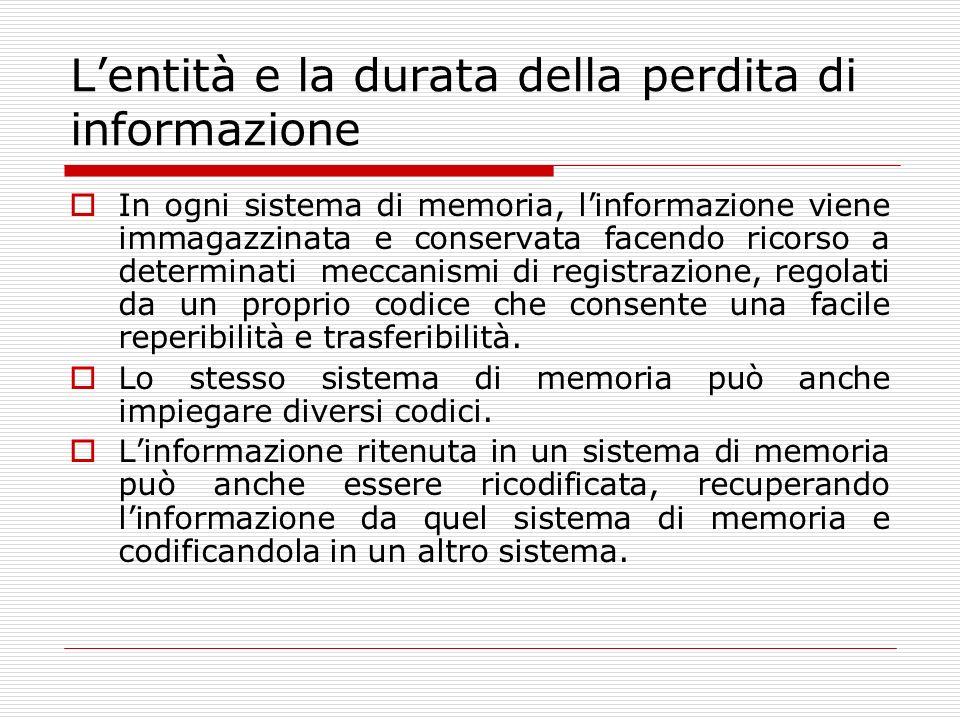 Lentità e la durata della perdita di informazione In ogni sistema di memoria, linformazione viene immagazzinata e conservata facendo ricorso a determi