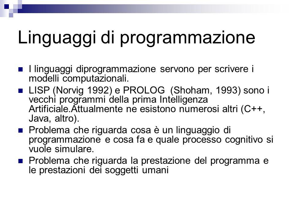 Linguaggi di programmazione I linguaggi diprogrammazione servono per scrivere i modelli computazionali. LISP (Norvig 1992) e PROLOG (Shoham, 1993) son